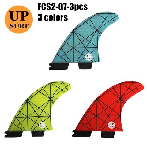 Conjunto de Fibra de Vidro Aletas Prancha Barbatanas Fcs2 g7 Luz Azul e amarelo e vermelho Fin Fcs ii Tri Upsurf Novo Design