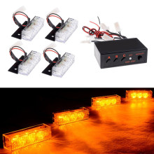 4x3 LED luz de la parrilla del coche parachoques delantero Blink Grill Light policía bombero LED estroboscópico flash de advertencia lámpara de emergencia(China)