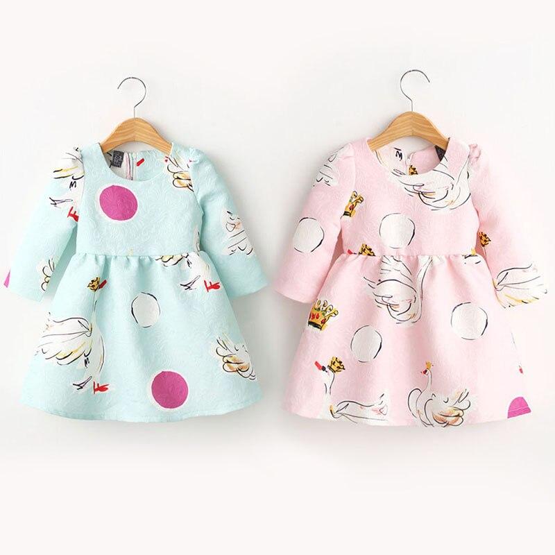 Baby Kids Girls Princess Tutu Dress Swan Print Long Sleeve One-Piece 2-7Years New цена и фото