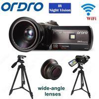 "Frete grátis! ORDRO 18 HDV D395 Full HD 1080 p X 3.0 ""Toque Digital Camera + Wide angle Lens + Tripé|full hd 1080p|hd 1080p|camera ordro -"