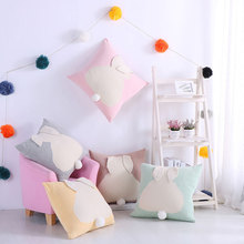 Knitted Cushion Cover Cartoon Plaid Pink Series Rabbit Ears Pillowcase Children's Cotton Knitted Cushions Car Sofa Throw Pillows knitted cushions
