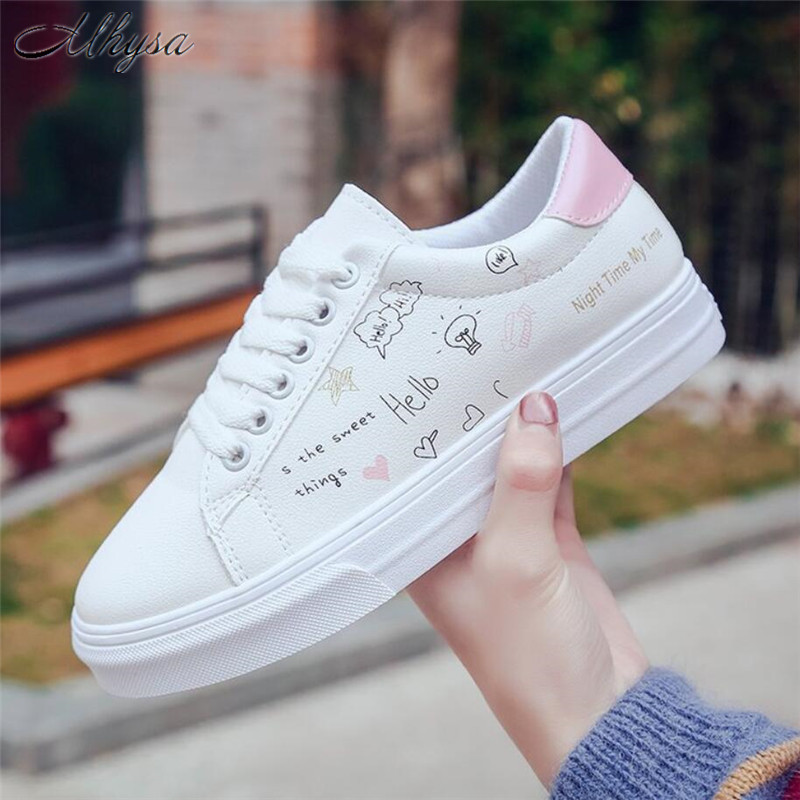 Mhysa 2018 Shoes woman new fashion casual platform leather classic cotton women casual lace-up white shoes sneakers S542