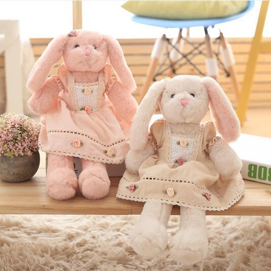 1 unids 40 cm Súper Suave Conejo Rosa y Blanco de La Felpa Apaciguar Acompañar Sueño Muñeca Seguridad Conejito Conejo Falda Niños juguetes
