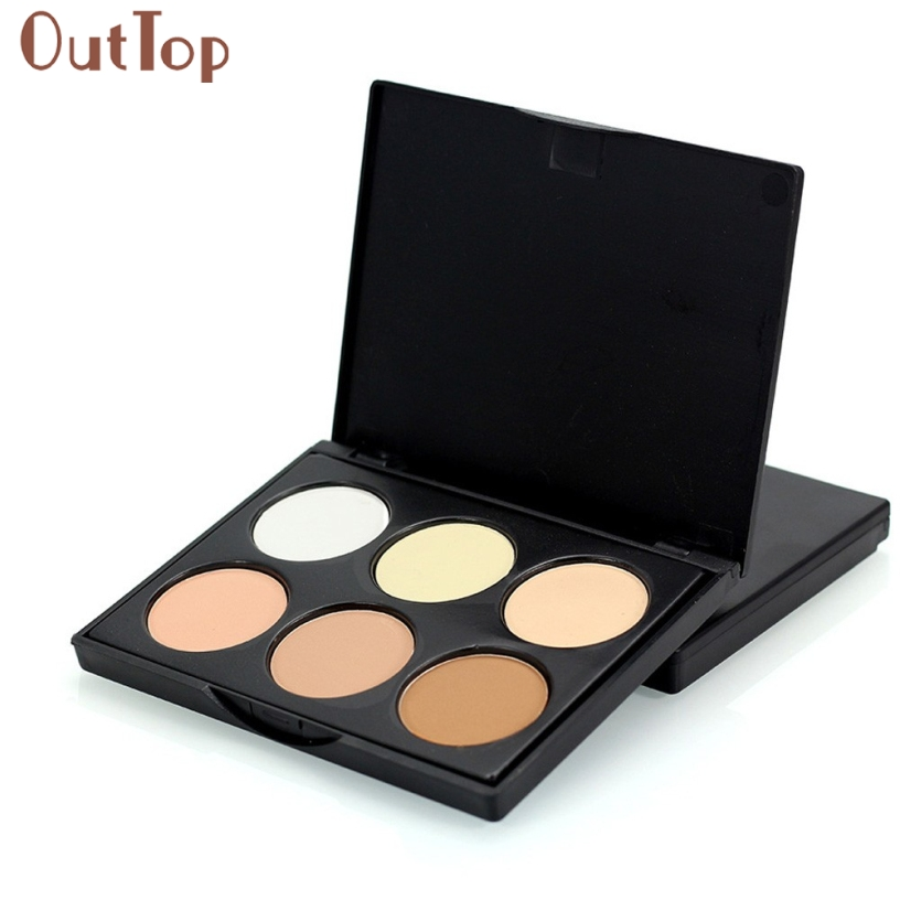 OutTop Pretty New Professional 6 Colors Contour Face Cream Makeup Concealer Palette Cosmetics Tool Gift