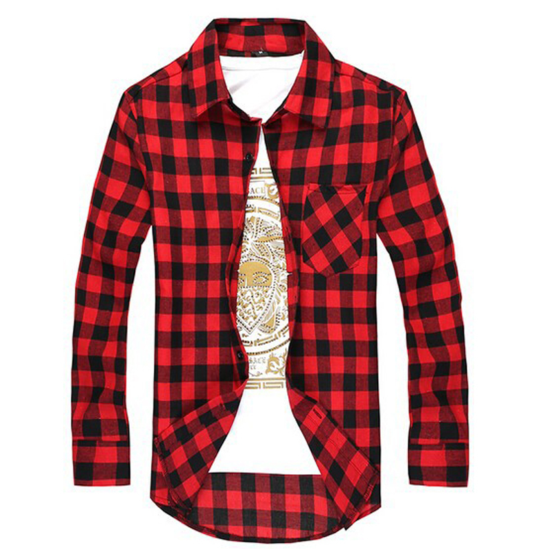 Casual Plaid Shirt Men Long Sleeve Social Checkered Dress ...
