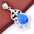 ENYA New Fashion Jewelry 1 Pcs Bright Crystal Pendants Necklaces Water Drop Blue Synthetic Topaz Pendants P0111