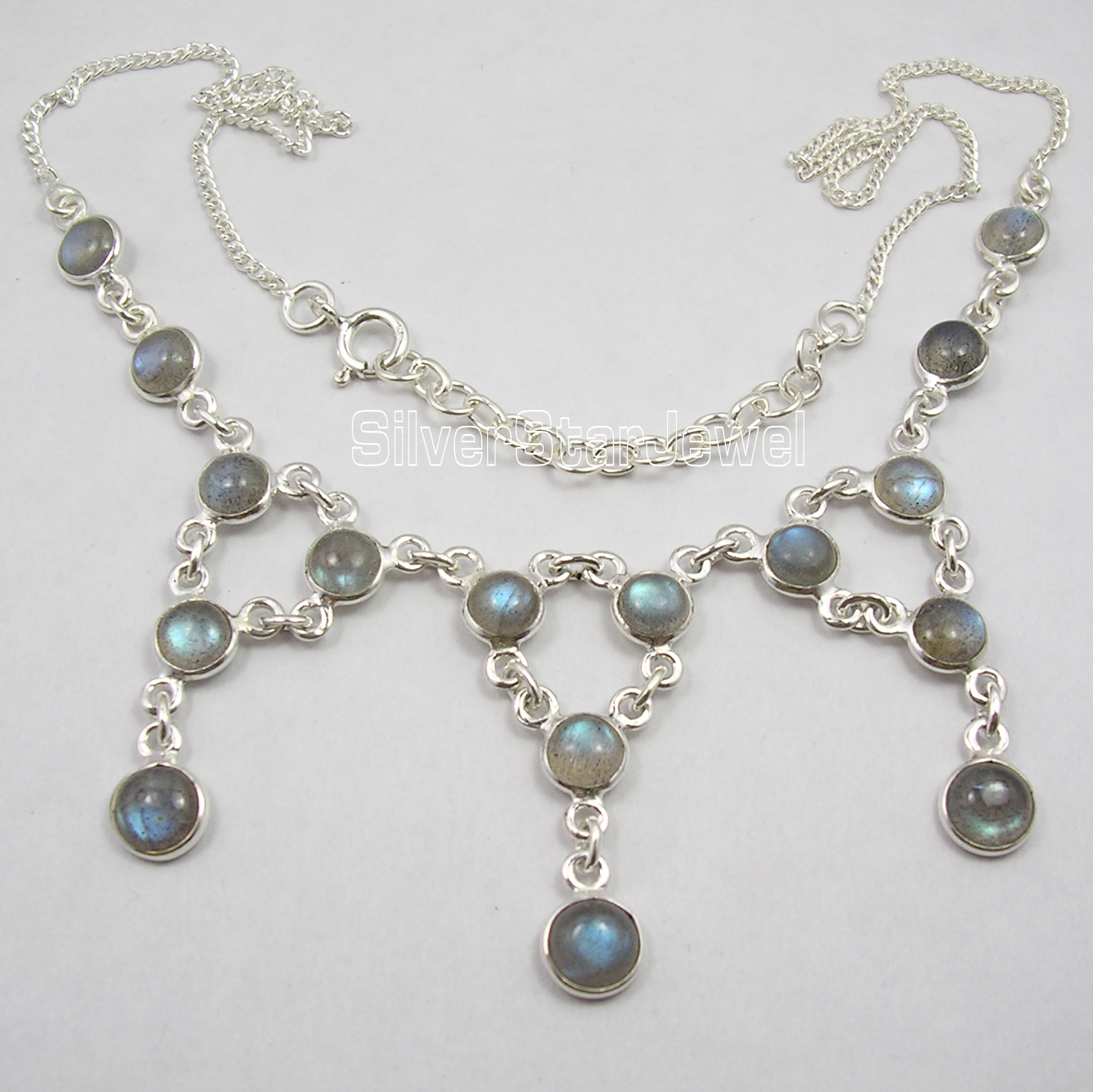 Chanti International Pure Silver BLUE FLASH LABRADORITE Beautiful LARGE MADE IN INDIA Necklace scavengers in india page 1