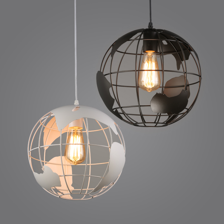 Creative Earth Loft Industrial Pendant Lights Black White Vintage Hanging Lamp E27 Retro Lamps For Restaurant Bar Lighting IP012 new loft vintage iron pendant light industrial lighting glass guard design bar cafe restaurant cage pendant lamp hanging lights