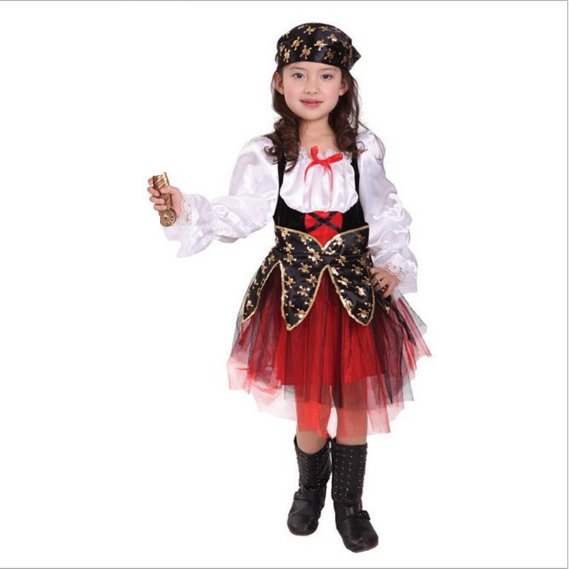 halloween luxury pirate costumes girls kids children party cosplay costume for children kids clothes full set headdress dress