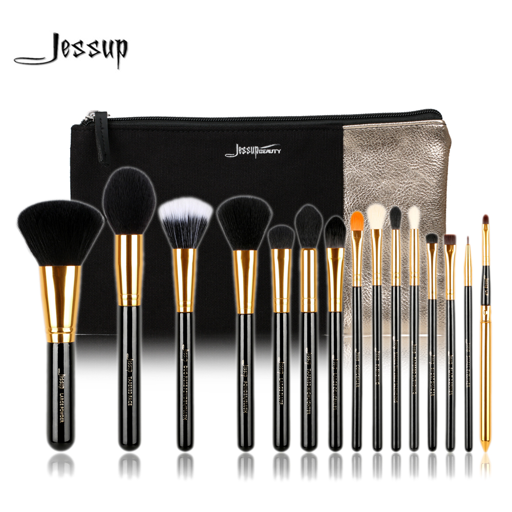 Jessup Brand 15pcs Beauty Makeup Brushes Set Brush Tool Black and Silver T093 & Cosmetics Bags Women Bag CB002 jessup brushes 15pcs beauty makeup