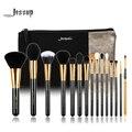 Jessup marca 15 pcs pincéis de maquiagem beauty brush tool set t093 & sacos cosméticos mulheres saco preto e prata cb002