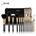Jessup marca 15 unids t093 belleza pinceles de maquillaje herramienta pincel negro y plata y bolsas de cosméticos mujeres bolsa cb002