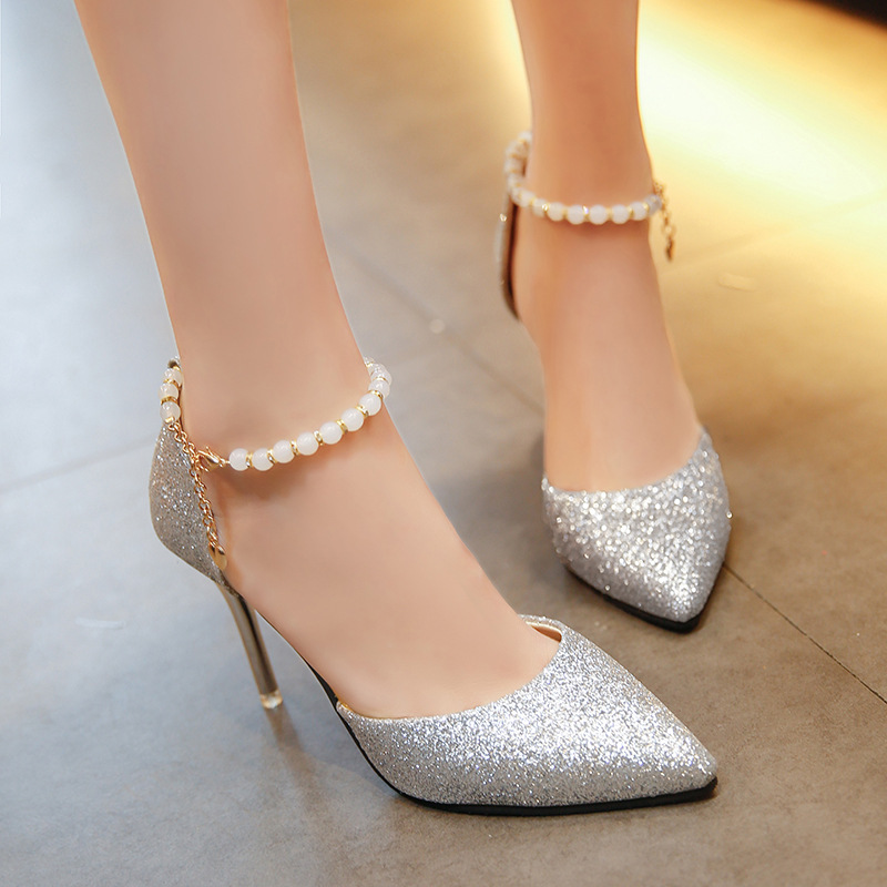 2018 Spring Autumn Women Pumps Sexy Black Gold Silver High Heels Shoes Fashion Luxury Rhinestone Wedding Party Shoes String Bead