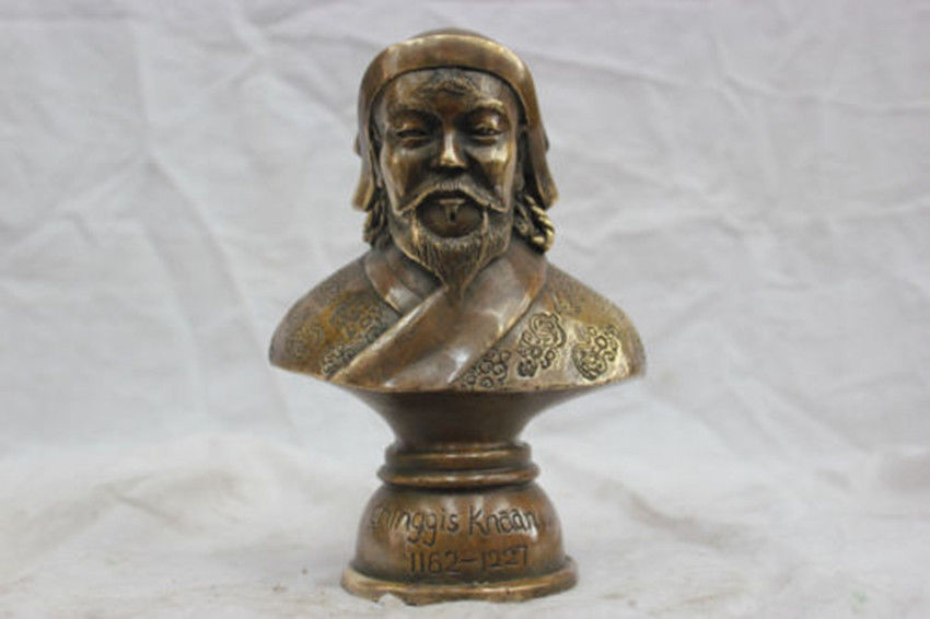 MOEHOMES 7'' China Pure Bronze Genghis Khan Bust Statue vintage family decoration metal handicraft