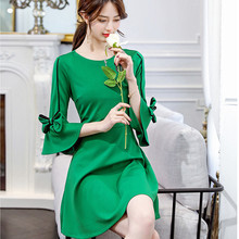 Dress vestidos 2019 summer womens three quarter sleeve o-neck flare office lady dress with a bow on the S-2XL