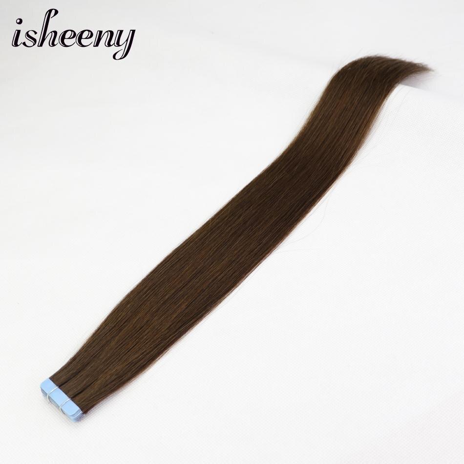 Effizient Isheeny 14 18 20 22 Band In Natürliche Menschenhaar Extensions 4 # Mittelbraun Europäischen Haut Schuss Remy Haar Verlängerung Haarverlängerungen