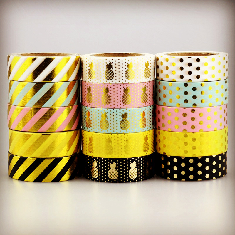 10m Foil Washi Tape Pineapple Stripe Dot Set Japanese Stationery Kawaii Stickers Scrapbooking Tools Masking Tape Diy Photo Album gold foil washi tape adhesive scrapbooking christmas party elk decoration tape kawaii photo album maskingtape