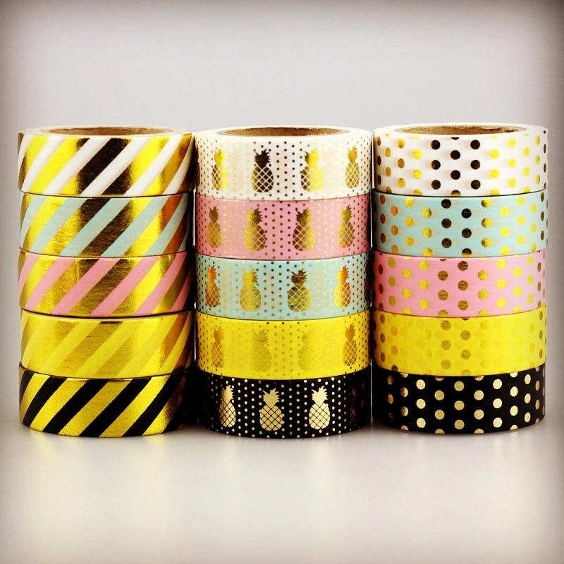 10m Foil Washi Tape Pineapple Stripe Dot Set Japanese Stationery Kawaii Stickers Scrapbooking Tools Masking Tape Diy Photo Album