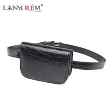 LANMREM 2019 Новая Черная Женская кожаная поясная сумка на пояс Сумка для телефона модный ремень FA71401M