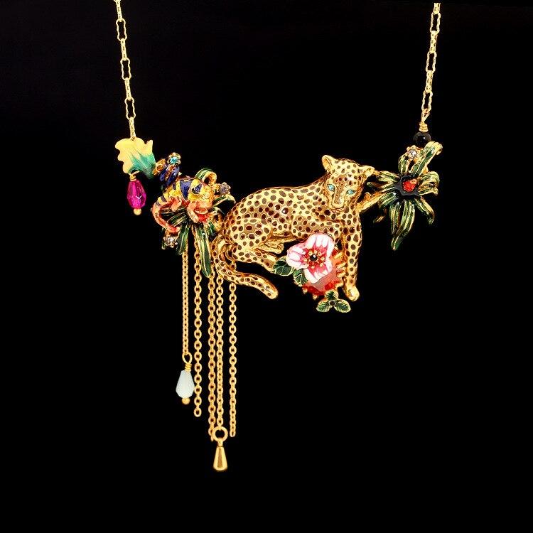 Les Nereides Paris Elegant Necklaces Beautiful Leopard Ruby Tassel Flower Gold Plated Necklace For Women Party