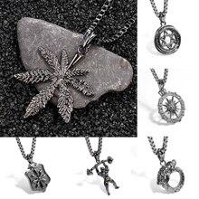 Wholesale Charm Nordic Viking Necklace Maple Leaf/Shield Pendant Necklaces Hip-hop Rock Fashion Long Jewelry
