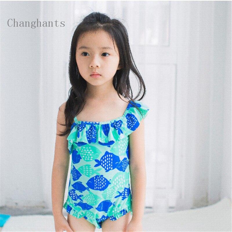 Детские купальники с оборками плечевой ремень для маленьких девочек Цельный купальник Дети купальный одежда sw0660