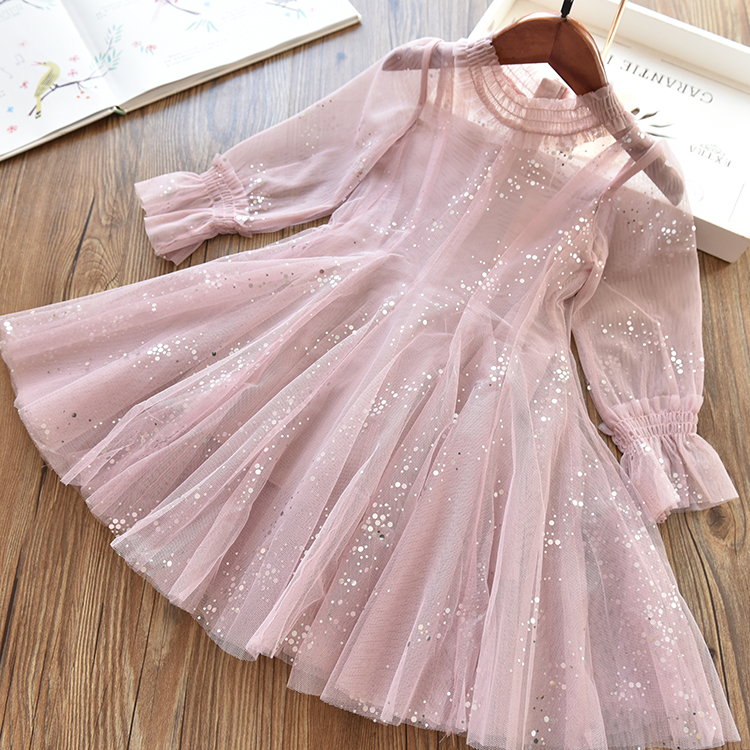 Girl Drill Lace Tail Sequined Wave Dot Mesh Screen Princess Dress Kids Fluffy Dresses 2019 Spring