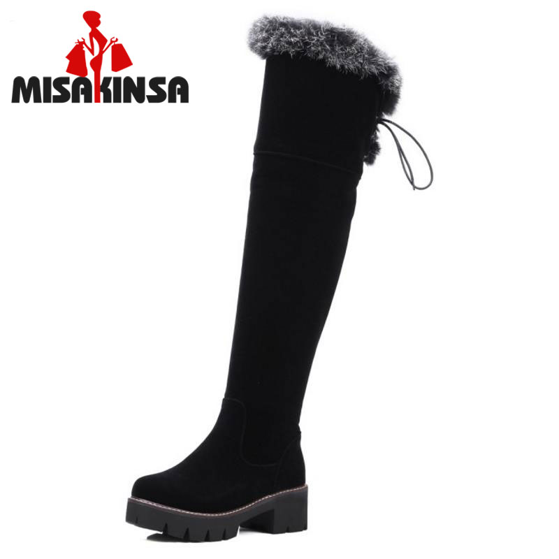 MISAKINSA Shoes Women New Over The Knee Thigh High Boots Motorcycle Flats Long Botas Low Heel Seude Leather Shoes Size 34-43