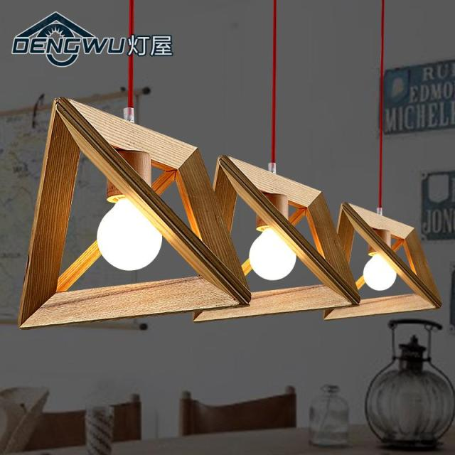 Modern nordic wooden pendant light wood lamp restaurant for Ceiling lamp wood