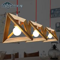 Modern nordic wooden pendant light Wood lamp restaurant bar coffee dining room hanging light fixture with bulb for free