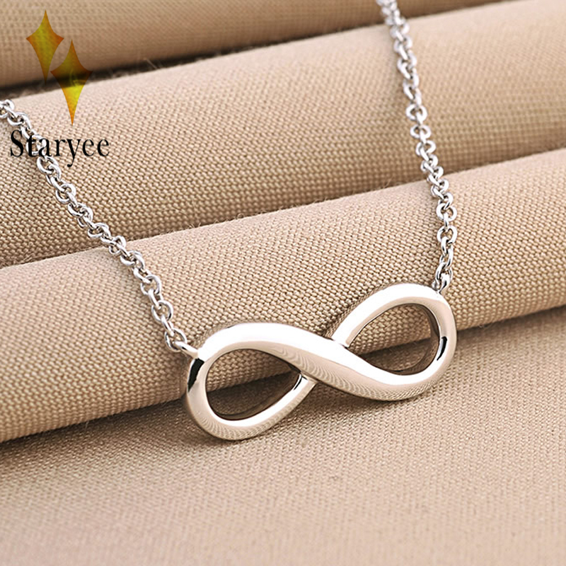 все цены на STARYEE Real 18K White Pure Gold Infinity Pendant Necklaces For Choker Lucky Number Eight Geometric Silver Long Chain Necklace