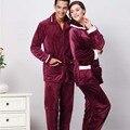 Nueva llegada pijamas de invierno engrosamiento pantalones de manga larga adulto homewear pareja caliente de algodón bolsillos ocasionales loungewear ropa de dormir