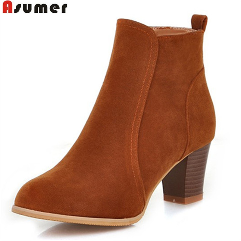 ASUMER 2018 hot sale new arrive women boots fashion flock ladies boots  simple solid color zipper ankle boots big size 35-45ASUMER 2018 hot sale new arrive women boots fashion flock ladies boots  simple solid color zipper ankle boots big size 35-45