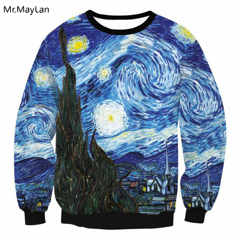Oil Painting Van Gogh Starry Night 3D Print Sweatshirts Men/Women Casual Streetwear Hoodies Outfits Pullover Jumper Tops Clothes