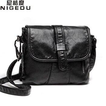 ec9cb6df4fd2 Мягкая кожа Для женщин сумка Повседневная Для женщин сумка через плечо  сумка женская сумочка черный Bolsa ...