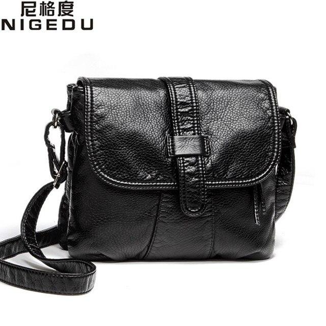 Soft Leather Women Messenger Bag Casual S Shoulder Crossbody Female Handbag Black Bolsa Feminina