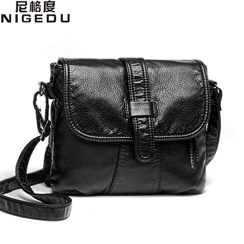 Soft leather Women Messenger bag casual women's shoulder Crossbody bag female handbag Black bolsa feminina girl bag