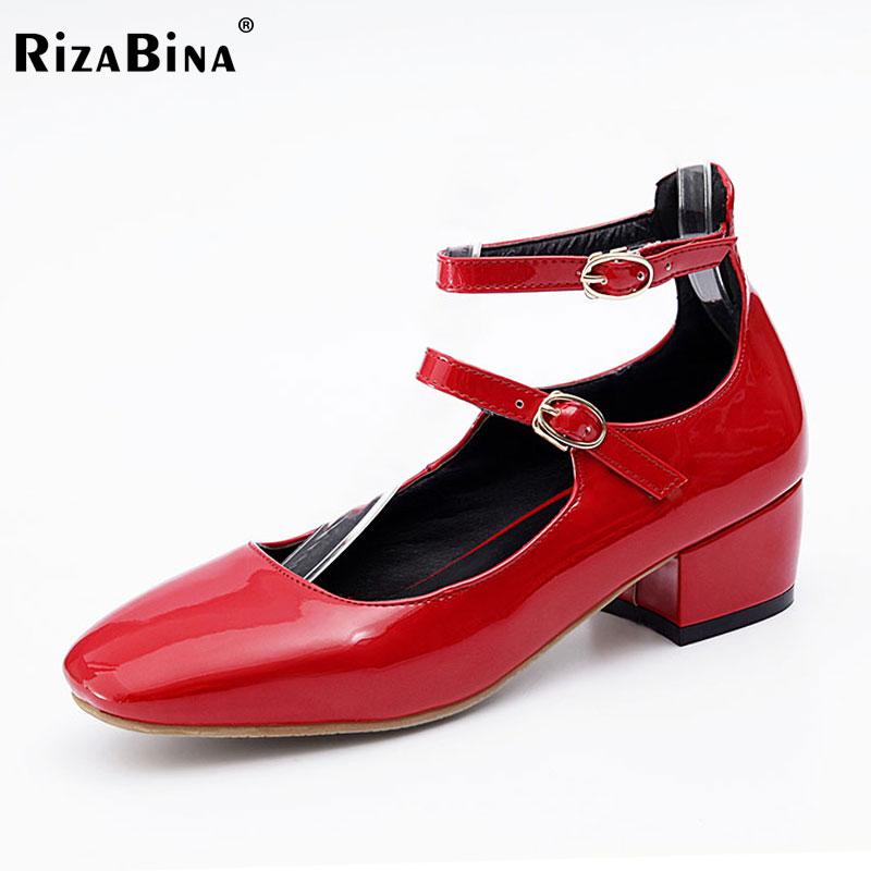 RizaBina Size 32-43 Women Square Toe Fashion Pumps Ankle Strap Buckle Mid Heels Shoes Women Party Wedding Lady Office Footwear rizabina concise women sneakers lady white shoes female butterfly cross strap flats shoes embroidery women footwear size 36 40
