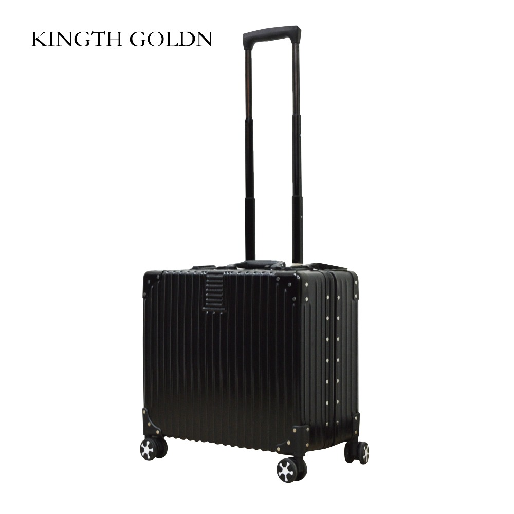 KINGTH GOLDN Fashion ABS+PC Luggage Box Rolling Hardside Alloy Pull Rod Suitcase Metal Luggage Travel Suitcase with Wheel