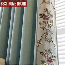BHD tailor-made embroidered modern blackout curtains for window blinds floral blackout curtains for living room bedroom drapes