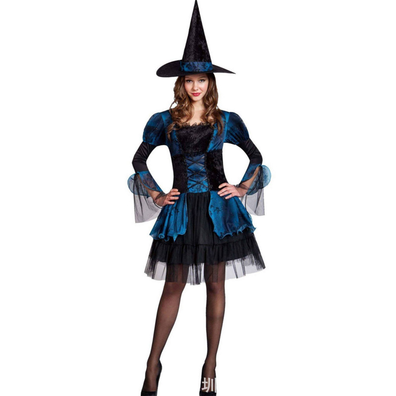 2018new luxury blue witch Costume Halloween host theatrical performances women magician Cosplay party dress photography clothing