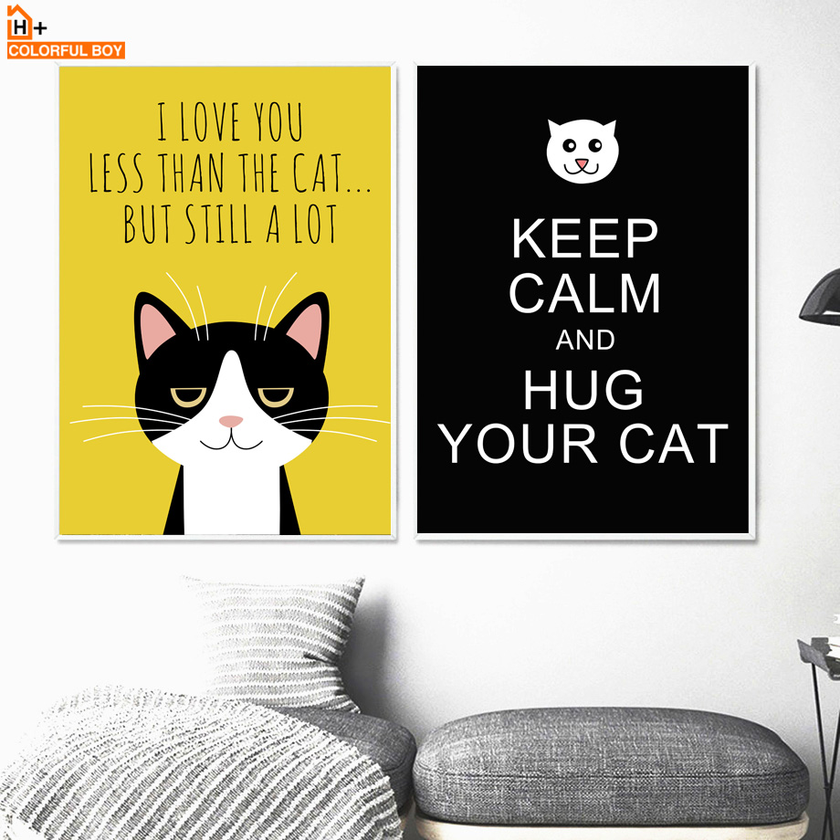 COLORFULBOY Cat keep Calm Quotes Wall Art Print Canvas Painting ...
