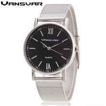 Vansvar Men Watches Top Brand Luxury Silver Band Women Wristwatch Ladies Dress Quartz Watch Casual Clock Relogio Feminino 1696