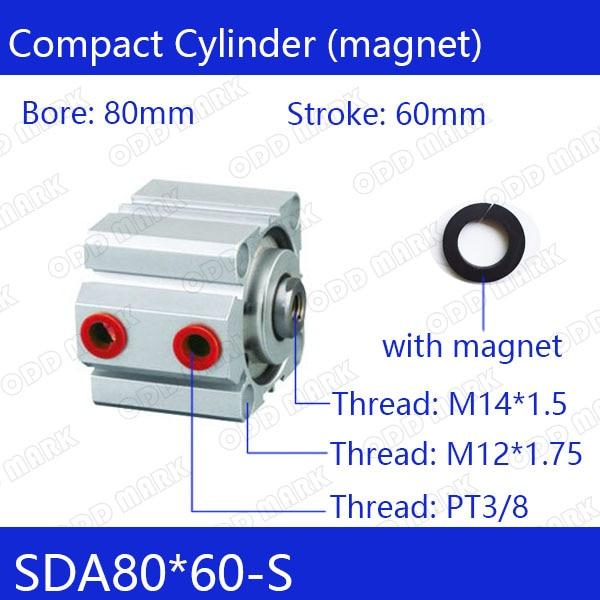 SDA80*60-s Бесплатная доставка 80 мм Диаметр 60 мм ход компактный воздуха цилиндры SDA80X60-с двойного действия воздуха пневматический цилиндр