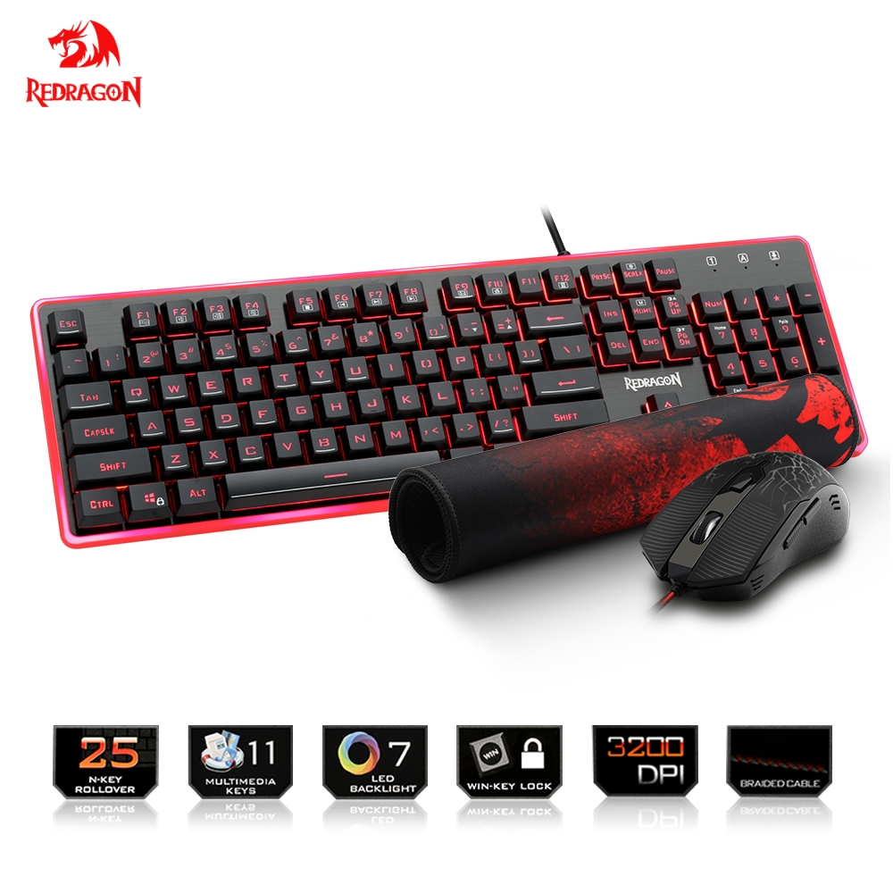 Redragon USB Gaming Membrane RGB Keyboard mouse pad combos 104 keys 3200 DPI 6 buttons Mice Set Wired computer PC game