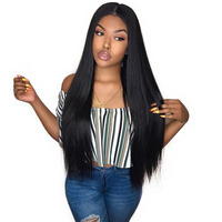 Pre Plucked Full Lace Human Hair Wigs With Baby Hair 130% Remy Straight Gluless Full Lace Wig For Women Natural Black SunnyQueen