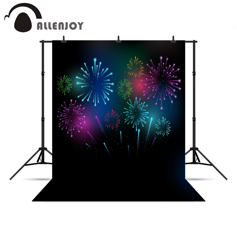 Allenjoy photographic photo background colorful happy New year fireworks night vinyl photography backdrop for photo Studio allenjoy 10ftx6 5ft fireworks photography backdrop black night romantic wedding background for photography studio without stand