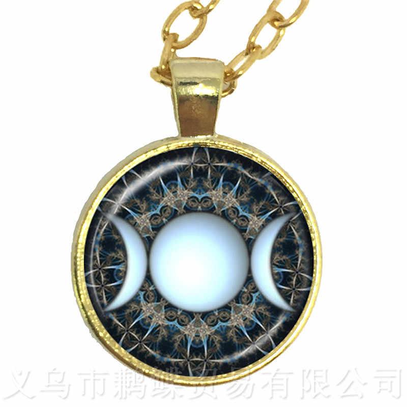 Зеленый фон тройной богиня луны Викка Pentagram магический амулет талисман Для мужчин Moon Цепочки и ожерелья тибетский Винтаж ювелирные изделия