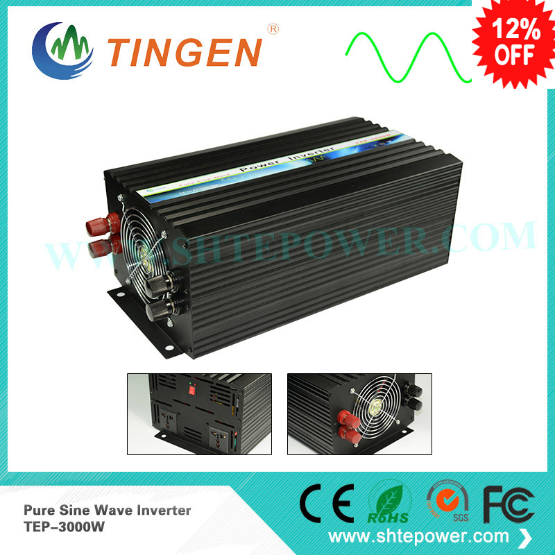 цена на Factory sell CE&ROHS approved ,dc 12v/24v to ac 100v-120v/220v-240v 3000w/3kw ,peak 6000w pure sine wave solar inverter
