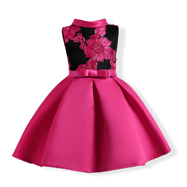Girls Dress 2018 New Fashion Embroidered Dress Flower Formal Dresses 3-10T Kids Children Big Bow Birthday Party Princess Clothes
